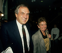 Montreal (Qc) Canada  file Photo - 1988 -- Ed Broadbent, New Democratic Party  (NPD) Leader and his wife Lucille<br /> <br /> PHOTO :  Agence Quebec Presse