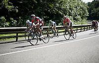 Greg Van Avermaet (BEL/BMC), Jan Bakelants (BEL/Ag2r-LaMondiale), Jens Keukeleire (BEL/Orica-GreenEDGE) & Jelle Wallays (BEL/Lotto-Soudal) descending fast<br /> <br /> Belgian National Road Cycling Championships 2016<br /> Les Lacs de l'Eau d'Heure