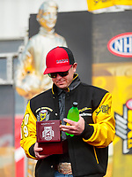 Feb 23, 2020; Chandler, Arizona, USA; NHRA top fuel driver Steve Torrence with his world championship ring during the Arizona Nationals at Wild Horse Pass Motorsports Park. Mandatory Credit: Mark J. Rebilas-USA TODAY Sports