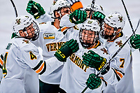26 January 2019: The University of Vermont Catamounts celebrate a third period goal, however, it was later overturned after review, with the score remaining 2-1 against the Merrimack College Warriors at Gutterson Fieldhouse in Burlington, Vermont. The Catamounts defeated the Warriors 4-3 in overtime to take both games of their weekend America East conference series. Mandatory Credit: Ed Wolfstein Photo *** RAW (NEF) Image File Available ***