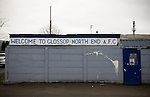 Glossop North End 0 Barnoldswick Town 1, 19/02/2011. Surrey Street, North West Counties League Premier Division. The main entrance to Glossop North End's Surrey Street ground, pictured before the club's game with Barnoldswick Town in the Vodkat North West Counties League premier division. The visitors won the match by one goal to nil watched by a crowd of 203 spectators. Glossop North End celebrated their 125th anniversary in 2011 and were once members of the Football League in England, spending one season in the top division in 1899-00. Photo by Colin McPherson.
