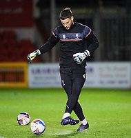 Lincoln City's Ethan Ross during the pre-match warm-up<br /> <br /> Photographer Andrew Vaughan/CameraSport<br /> <br /> EFL Papa John's Trophy - Northern Section - Group E - Lincoln City v Manchester City U21 - Tuesday 17th November 2020 - LNER Stadium - Lincoln<br />  <br /> World Copyright © 2020 CameraSport. All rights reserved. 43 Linden Ave. Countesthorpe. Leicester. England. LE8 5PG - Tel: +44 (0) 116 277 4147 - admin@camerasport.com - www.camerasport.com