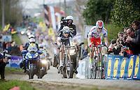 race leaders Alexander Kristoff (NOR/Katusha) & Niki Terpstra (NLD/Etixx-QuickStep) up the Paterberg<br /> <br /> 99th Ronde van Vlaanderen 2015