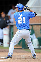 First Baseman Luke Maile #21swings at a pitch during a  game against the Tennessee Volunteers at Lindsey Nelson Stadium on March 24, 2012 in Knoxville, Tennessee. The game was suspended in the bottom of the 5th with the Wildcats leading 5-0. Tony Farlow/Four Seam Images.