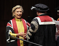 Pictured: Hillary Clinton on stage while being awarded her honorary degree at Swansea University Bay Campus. Saturday 14 October 2017<br /> Re: Hillary Clinton, the former US secretary of state and 2016 American presidential candidate will be presented with an honorary doctorate during a ceremony at Swansea University's Bay Campus in Wales, UK, to recognise her commitment to promoting the rights of families and children around the world.<br /> Mrs Clinton's great grandparents were from south Wales.
