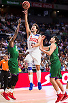 Real Madrid's player Sergio Llull and Unicaja Malaga's player Oliver Lafayette and Carlos Suarez during match of Liga Endesa at Barclaycard Center in Madrid. September 30, Spain. 2016. (ALTERPHOTOS/BorjaB.Hojas)