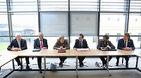 Professor Richard B Davies, Vice Chancellor of Swansea University (L), British Prime Minister Theresa May (3rd L) and Alun Cairns Secretary of State for Wales (4th L) at the Swansea University Bay Campus, Swansea, Wales, UK. Monday 20 March 2017.