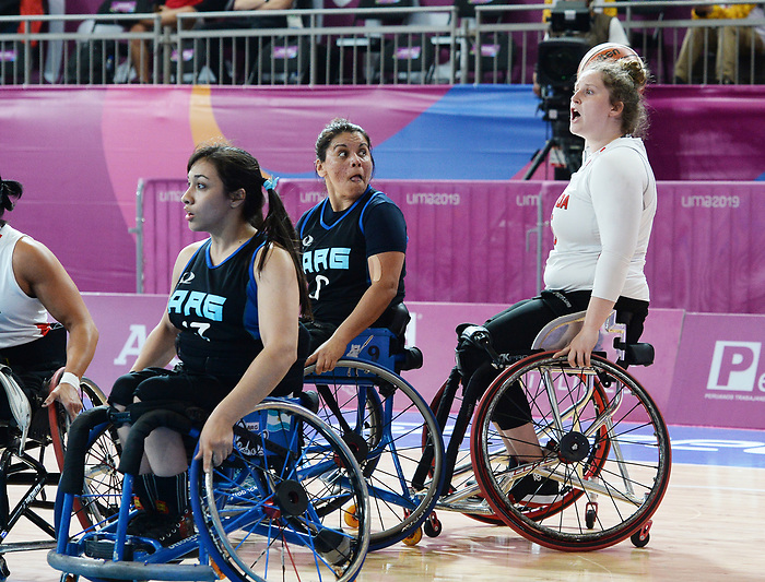 Arinn Young, Lima 2019 - Wheelchair Basketball // Basketball en fauteuil roulant.<br /> Women's wheelchair basketball competes against Argentina // Le basketball en fauteuil roulant féminin contre Argentine. 25/08/2019.