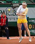Ksenia Pervak (RUS) loses to Maria Sharapova (RUS) 6-1, 6-2 at  Roland Garros being played at Stade Roland Garros in Paris, France on May 26, 2014