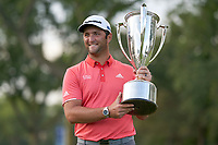 30th August 2020, Olympia Fields, Illinois, USA; Jon Rahm of Spain celebrates with the J.D. Wadley trophy after winning on the first sudden-death playoff hole against Dustin Johnson (not pictured) during the final round of the BMW Championship on the (North) Course at Olympia Fields Country Club