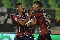 PALMIRA - COLOMBIA, 19-02-2019: Luis Carlos Arias del Unión celebra después de anotar el primer gol de su equipo al Cali durante partido por la fecha 5 de la Liga Águila I 2019 entre Deportivo Cali y Unión Magdalena jugado en el estadio Deportivo Cali de la ciudad de Palmira. / Luis Carlos Arias player of Union celebrates after scoring the first goal of his team to Cali during match for the date 5 as part Aguila League I 2019 between Deportivo Cali and Union Magdalena played at Deportivo Cali stadium in Palmira city.  Photo: VizzorImage / Gabriel Aponte / Staff