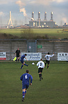 Connah's Quay Nomads 5 Haverfordwest County 3, 06/01/20007. Cae-y-Castell, Welsh Premier League. The Flint power station and bridge into England dominating the skyline as Connah's Quay Nomads take on Haverfordwest County (blue shirts) in a Welsh Premier League match at Flint, north Wales. Connah's Quay spent the 2006-07 season ground sharing with Flint United as they redeveloped their own home stadium, located less than five miles along the north Wales coast. The home team won the match 5-3, having lead 4-0 after 30 minutes and clinching the victory with their fifth goal six minutes from time. Photo by Colin McPherson.