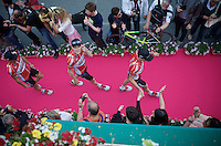 Lars Bak (DEN/Lotto-Soudal) looking up from the pink carpet<br /> <br /> Giro 2015 Official Team Presentation (in San Remo)