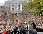 October 4, 2012- Madison, United States: President Barack Obama addresses a crowd of 30,000 supporters at a grassroots event at the University of Wisconson. (Christina Capasso/Polaris)