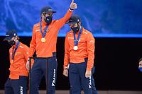 SPEEDSKATING: DORDRECHT: 07-03-2021, ISU World Short Track Speedskating Championships, Podium 5000m Relay, Daan Breeuwsma, Sjinkie Knegt,  (NED), ©photo Martin de Jong