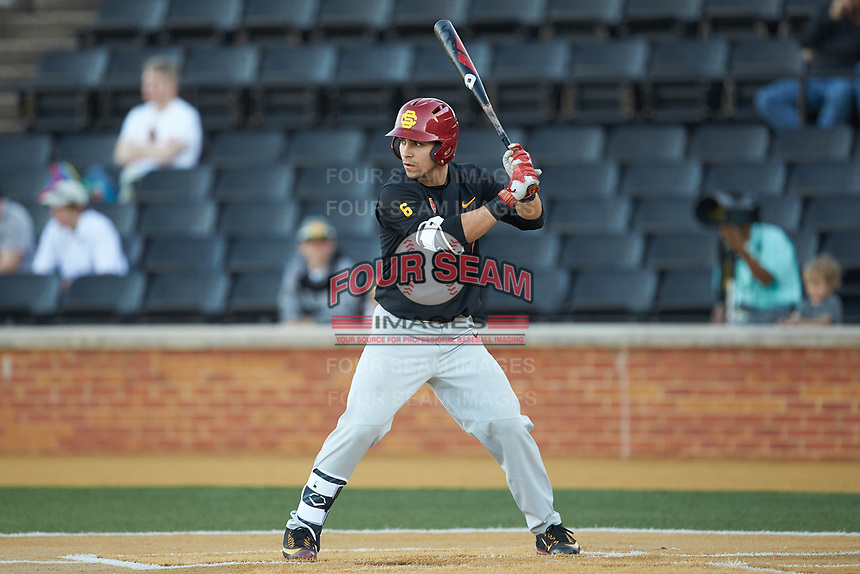 Matthew Acosta (6) of the USC Trojans at bat against the Wake Forest Demon Deacons at David F. Couch Ballpark on February 24, 2017 in  Winston-Salem, North Carolina.  The Demon Deacons defeated the Trojans 15-5.  (Brian Westerholt/Four Seam Images)