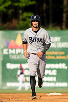 Biloxi Shuckers Max McDowell (4) jogs to third base during a Southern League game against the Jackson Generals on June 14, 2019 at The Ballpark at Jackson in Jackson, Tennessee. Jackson defeated Biloxi 4-3. (Brad Krause/Four Seam Images)