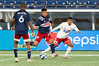 FOXBOROUGH, MA - OCTOBER 16: Damian Rivera #72 of New England Revolution II passes the ball during a game between North Texas SC and New England Revolution II at Gillette Stadium on October 16, 2020 in Foxborough, Massachusetts.