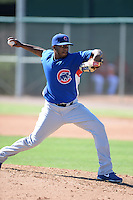 Chicago Cubs pitcher Jose Rosario (58) during an Instructional League game against the Arizona Diamondbacks on October 5, 2013 at Salt River Fields at Talking Stick in Scottsdale, Arizona.  (Mike Janes/Four Seam Images)