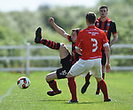 Derek Fahy of Bridge United A in action against Darren Cullinan of Newmarket Celtic A during their Clare Cup Final at Frank Healy Park. Photograph by John Kelly.