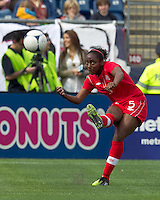 Canadian player Robyn Gayle (5) clears the ball. In an international friendly, Canada defeated Brasil, 2-1, at Gillette Stadium on March 24, 2012.