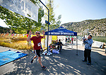 Half marathon runner Burton Hilton wins the 8th annual Take it to the Lake race at Cave Lake State Park, near Ely, Nev., on Saturday, Sept. 21, 2019.<br /> Photo by Cathleen Allison/Nevada Momentum