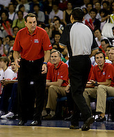 US head coach Mike Krzyzewski asks for an explanation of a foul call while playing at the Cotai Arena inside the Venetian Macau Resort and Hotel.  The US defeated Lithuania, 120-84.