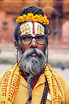 This sadhu, or holy man, with an intricate tilaka painted on his forhead. These markings indicate which Hindu god he follows.