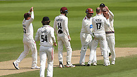 Somerset players congratulate, Jack Leach, after taking the wicket of Surrey batsman, Hashim Amla during Surrey CCC vs Somerset CCC, LV Insurance County Championship Group 2 Cricket at the Kia Oval on 13th July 2021