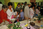 Egton Bridge Gooseberry Show Yorkshire UK 1990s. Visitors tourists attend the show to see the winning berries.
