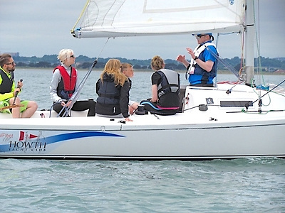 Next step up – the basics of sailing are outlined for beginners aboard one of the Howth YC J/80s. Photo: HYC