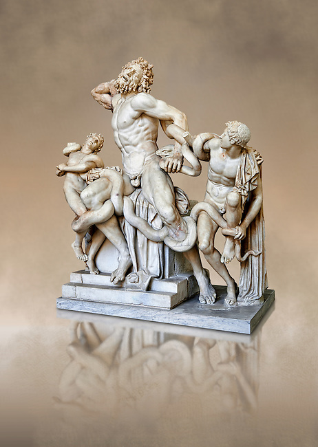 Statue group identified as as the Laocoon described by Pliny as a masterpiece made by the sculptors of Rhodes. The Laocoon depicts a scene from the Trojan War in which Athena and Poseidon sent two great serpants to wrap themselves around Laocoon and his two sons to kill them. Circa 40-30BC, Pope Clement XIV coillection, Vatican Museum Rome, Italy,  art background
