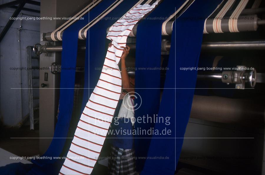 Indien Maikaal Projekt von Maikaal Fibres Ltd. und Remei AG Bio Baumwolle Naturtextilien Faerben mit umweltfreundlichen Textilfarben von Naturaline aus bioRe Garn bzw Stoff bei Kaytee Corporation in Tirupur / India Maikaal Project of Maikaal Fibres Ltd. and Remei AG Bio organic cotton nature textiles dying with ecofriendly and AZO free textile colors of Naturaline from bioRe yarn and fabrics at Kaytee Corporation in Tirupur