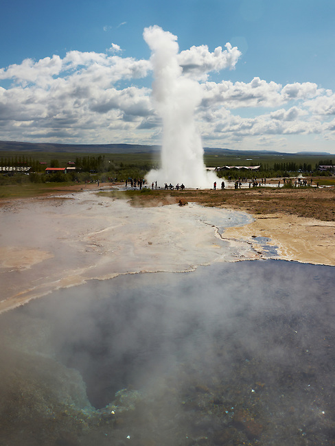 The Strokkur geyser in Iceland erupts 20 meters into the air.