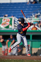 State College Spikes second baseman Nick Dunn (29) at bat during a game against the Batavia Muckdogs on July 9, 2018 at Dwyer Stadium in Batavia, New York.  State College defeated Batavia 3-0.  (Mike Janes/Four Seam Images)