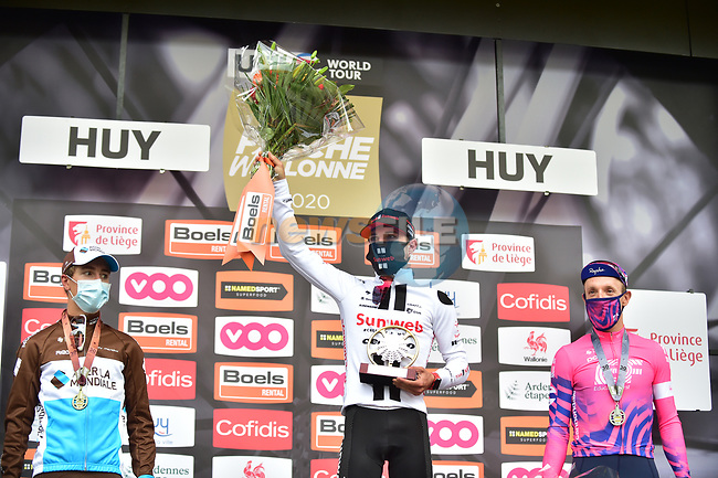 Marc Hirschi (SUI) Team Sunweb wins La Fleche Wallonne 2020, with Benoit Cosnefroy (FRA) AG2R La Mondiale in 2nd place and Michael Woods (CAN) EF Pro Cycling 3rd, running 202km from Herve to Mur de Huy, Belgium. 30th September 2020.<br /> Picture: ASO/Gautier Demouveaux | Cyclefile<br /> All photos usage must carry mandatory copyright credit (© Cyclefile | ASO/Gautier Demouveaux)
