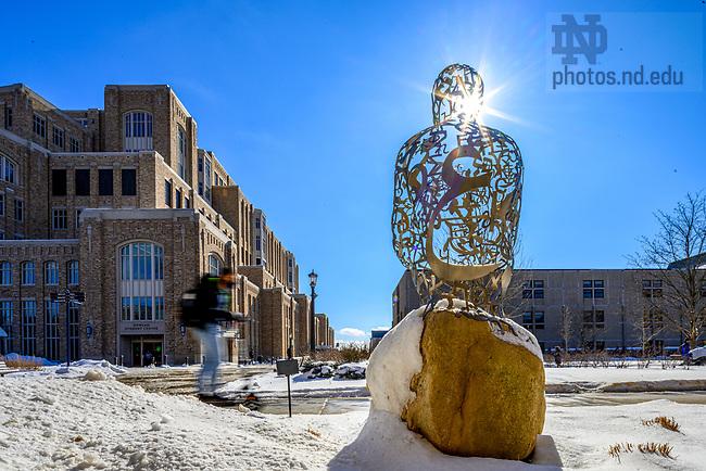 February 5, 2021; Sculpture outside Snite Museum of Art (Photo by Matt Cashore/University of Notre Dame)