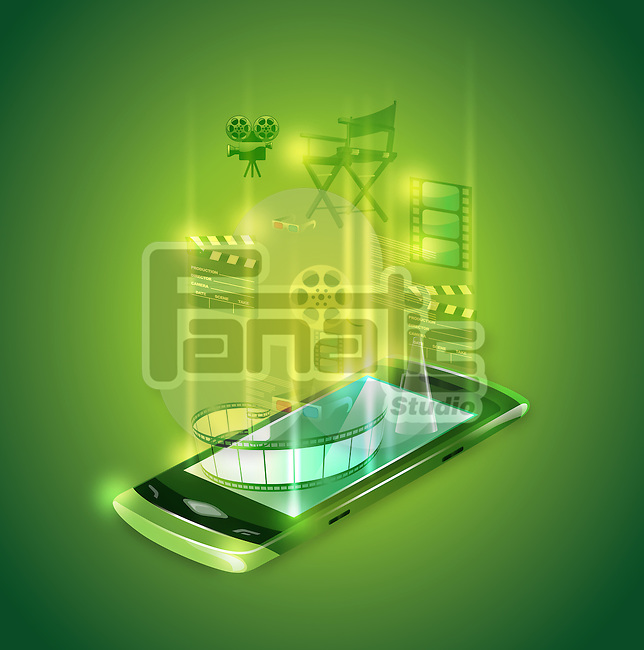 Illustrative image of mobile phone's entertainment applications