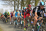 The peloton including Edvald Boasson Hagen (NOR) and Ian Stannard (GBR) Sky Procycling sandwiching George Hincapie (USA) BMC Racing Team approach the start of the Oude Kwaremont climb during the 96th edition of The Tour of Flanders 2012, running 256.9km from Bruges to Oudenaarde, Belgium. 1st April 2012. <br /> (Photo by Eoin Clarke/NEWSFILE).