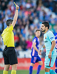 Luis Alberto Suarez Diaz of FC Barcelona is shown the yellow card by referee Alberto Undiano Mallenco during the La Liga 2017-18 match between CD Leganes vs FC Barcelona at Estadio Municipal Butarque on November 18 2017 in Leganes, Spain. Photo by Diego Gonzalez / Power Sport Images