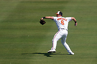 Baltimore Orioles outfielder Ryan Mountcastle (6) throws the ball in during a Major League Spring Training game against the Philadelphia Phillies on March 12, 2021 at the Ed Smith Stadium in Sarasota, Florida.  (Mike Janes/Four Seam Images)