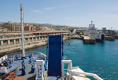 Italy, Calabria, Villa San Giovanni: port at Straits of Messina, car ferry leaving for Messina