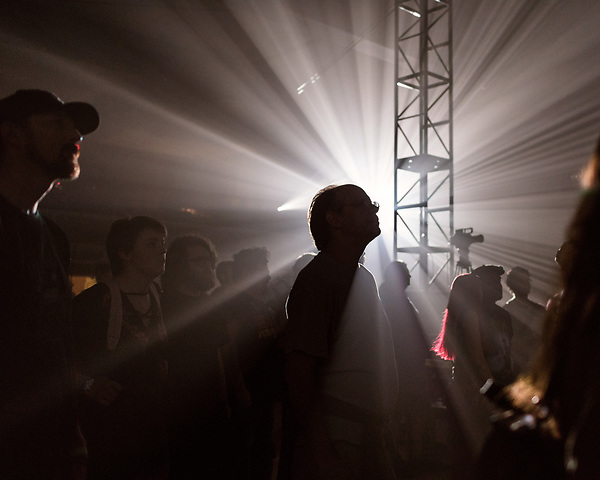 May 18, 2018. Durham, North Carolina.<br />  <br /> The crowd for Waajeed at the Durham Armory. <br /> <br /> Moogfest 2018 showcases 4 days of music, art and technology spread out amongst venues in and around downtown Durham.