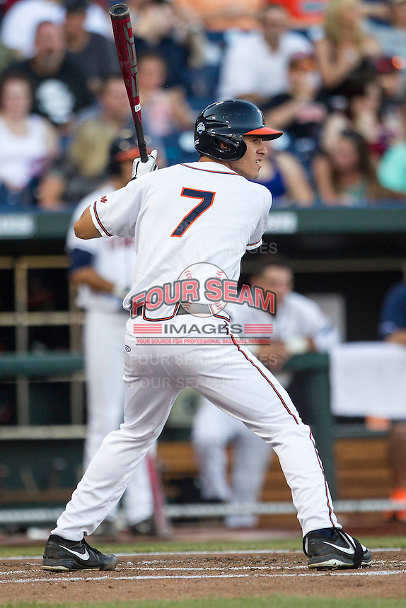 Virginia Cavaliers outfielder Adam Haseley (7) at bat against the Florida Gators in Game 13 of the NCAA College World Series on June 20, 2015 at TD Ameritrade Park in Omaha, Nebraska. The Cavaliers beat the Gators 5-4. (Andrew Woolley/Four Seam Images)