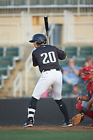 Tate Blackman (20) of the Kannapolis Intimidators at bat against the Hagerstown Suns at Kannapolis Intimidators Stadium on May 4, 2018 in Kannapolis, North Carolina.  The Intimidators defeated the Suns 11-0.  (Brian Westerholt/Four Seam Images)