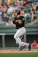 Catcher Dean Nevarez (35) of the West Virginia Power bats in a game against the Greenville Drive on Friday, May 17, 2019, at Fluor Field at the West End in Greenville, South Carolina. West Virginia won, 10-4. (Tom Priddy/Four Seam Images)