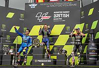 29th August 2021; Silverstone Circuit, Silverstone, Northamptonshire, England; MotoGP British Grand Prix, Race Day; The podium for the British Grand Prix, Monster Energy Yamaha MotoGP rider Fabio Quartararo, Team Suzuki Ecstar rider Alex Rins and Aprilia Racing Team Gresini rider Aleix Espargaro