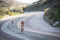 Jan Frodeno and Andy Potts on the bike in the Accenture Ironman California 70.3 in Oceanside, CA on March 29, 2014.