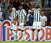MEDELLIN -COLOMBIA-28-MARZO -2015.  Juan David Valencia jugador del Atletico Nacional  celebra su gol  contra el Deportes Tolima , durante partido por la fecha 12 entre Atletico Nacional y Deportes Tolima  de la Liga Aguila I-2015, en el estadio Atanasio Girardot de la ciudad de Medellin . / Juan David Valencia player of Atletico Nacional celebrates his goal against of Deportes Tolima , during a  match of the 12 date between Atletico Nacional  and Deportes Tolima  for the Liga Aguila I -2015 at the Atanasio Girardot Stadium in Medellin city <br /> .Photo: VizzorImage / Leon Monsalve / STR