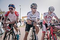 Mathieu van der Poel (NED/Beobank-Corendon), Wout Van Aert (BEL/Crelan-Charles) & Laurens Sweeck (BEL/Era-Circus) on the start grid<br /> <br /> Elite Men's Race<br /> CX Super Prestige Zonhoven 2017